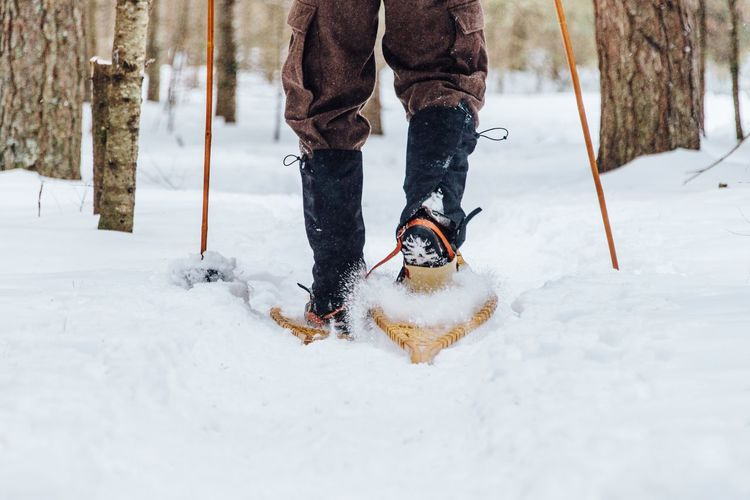 Snowshoeing Snowshoe EyeEm Selects Winter Snow Cold Temperature Weather Low Section White Color One Person Leisure Activity Human Body Part Nature Human Leg Warm Clothing Outdoors Fun Lifestyles Men Real People