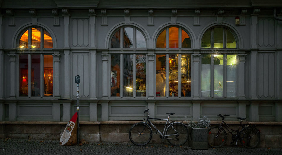 windows in Weimar Weimar Architecture Bicycle Building Exterior Built Structure City Dawn Day Illuminated Land Vehicle Mode Of Transport No People Outdoors Stationary Transportation Windows