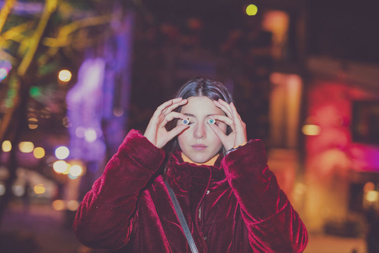 One Person Front View Portrait Focus On Foreground Night Lifestyles Real People Headshot Warm Clothing Winter Clothing Leisure Activity Young Adult Illuminated Waist Up Child Young Women Looking At Camera Scarf Contemplation Beautiful Woman Teenager My Best Photo 17.62°