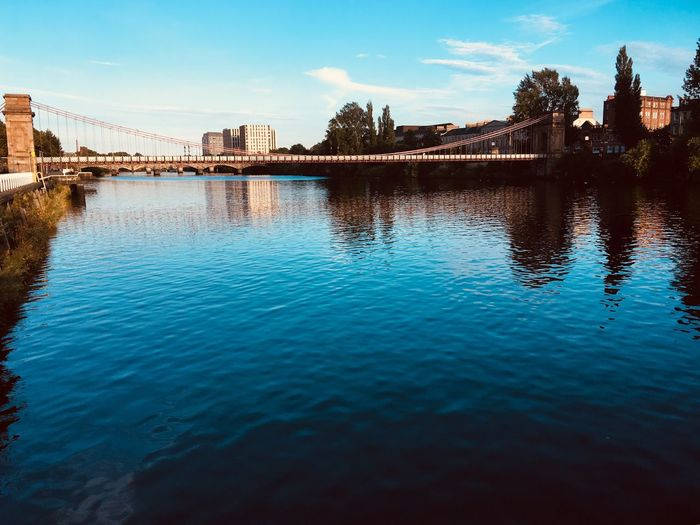 River Clyde pedestrian bridge Water Reflection Sky Waterfront Tree Nature River Built Structure Bridge Bridge - Man Made Structure No People