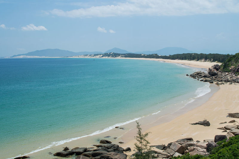 Coastal Landscape with Pristine Beach near Nha Trang, Vietnam ASIA Quy Nhon Quynhon Vietnam Beach Beauty In Nature Day Mountain Nature No People Outdoors Scenics Sea Sky Southeastasia Tranquil Scene Tranquility Water