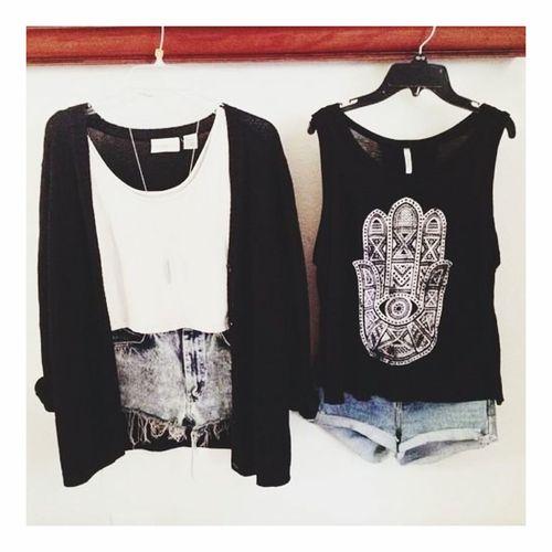 My Tenue Du Jour Fashion Gilet Pull Short Débardeur  Black White 👌✌️💅👠👙👗👖💄🌂🎀👛