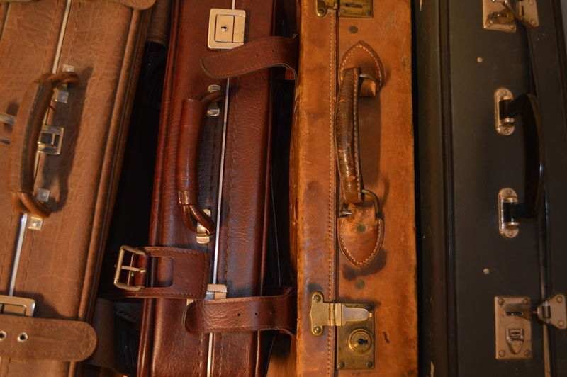 Brown Case Detail Equipment Large Group Of Objects Leather Old Suitcase