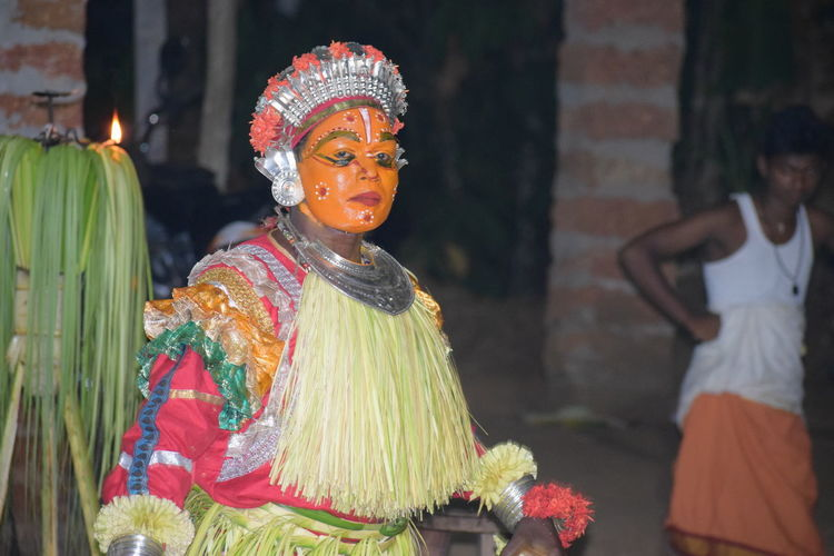 bhoota kola South India Traditional Festival Culture Belief Night Nightphotography Nikon Nikond5300 Beauty Dhakshina Kannada Tulunaadu Bhoota Kola Look Me In The Eyes Looking At Camera Arts Culture And Entertainment Portrait