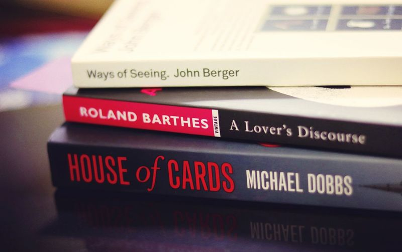 Books Booklover Bookcovers Text Western Script Indoors  Johnbergerbook Roland Barthes John Berger House Of Cards