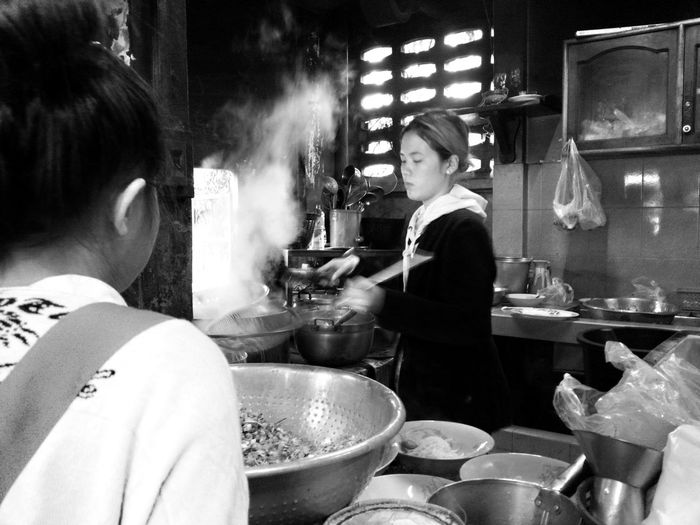 Breakfast with noodle suop in Savanaket, Lao...this morning be cold only 18•c... Streetphoto_bw Blackandwhite Traveling Light And Shadow