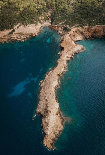 High angle view of rocky coast