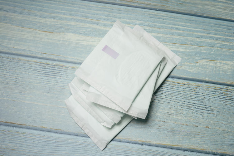 High angle view of sanitary pad on table