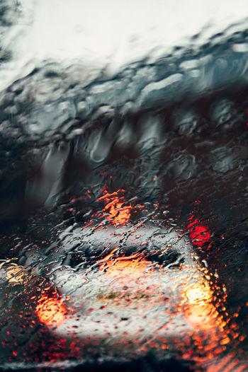 Full frame shot of wet fire in rainy season