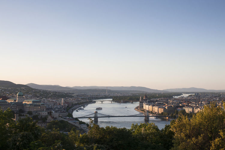 High angle view of budapest city and river danube