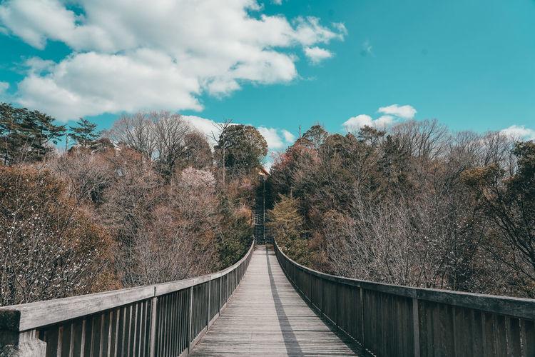 Panoramic view of footbridge against sky