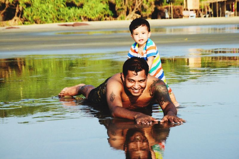 Father and Son Fatherandson Love Parents A Parents Love Happiness Life Life Is A Beach Potraits Beach Beach Photography Reflection Original Experiences