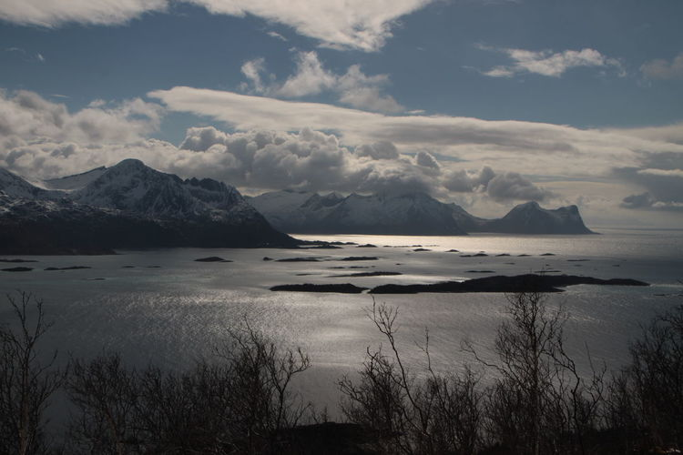 Beauty In Nature Cloud - Sky Day Fjord Island Majestic Mountain Mountains Nature Nature No People Outdoors Scenics Sea Sea And Sky Sky Snow Sun Tranquil Scene Tranquility Water Winter