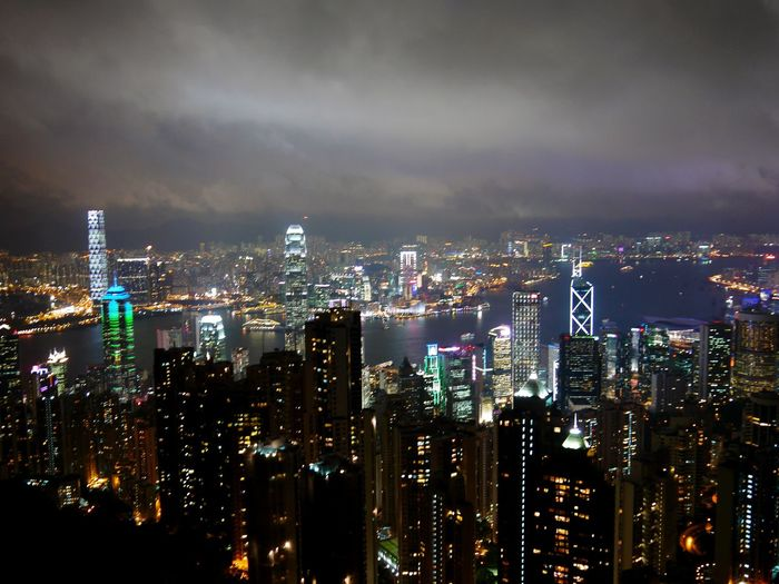 Cloudy Day Rainy Blackclouds NightphotographyUrbanphotography City Views Buildings Night Lights Thepeak Hong Kong