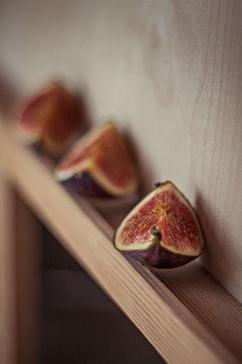 Close-Up Of Fig Slices On Shelf