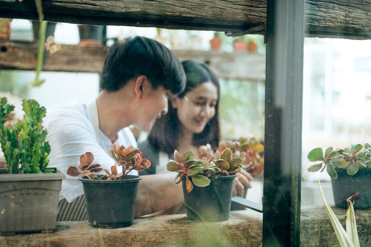 Couple looking at potted plants window