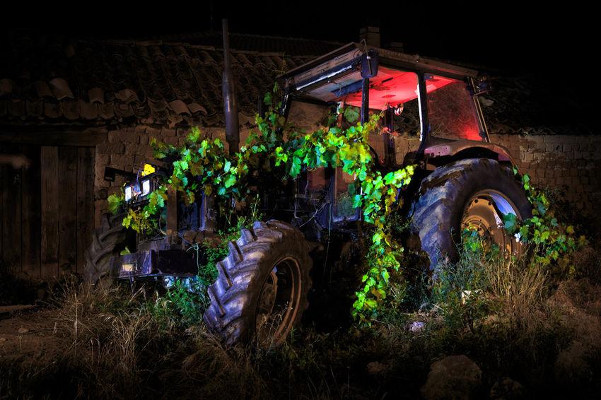 Agricultural Machinery Illuminated Land Land Vehicle Machinery Mode Of Transportation Nature Night Outdoors Plant Transportation