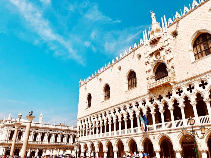 San Marco Square Venice, Italy Architecture Built Structure Building Exterior The Past History Sky Arch Nature Tourism Low Angle View Travel Travel Destinations Ancient Amphitheater Day Building Outdoors Blue Sunlight Group Of People