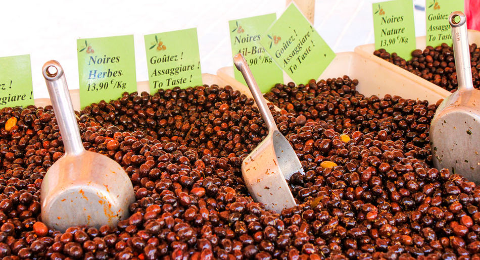 Calamata olives in market