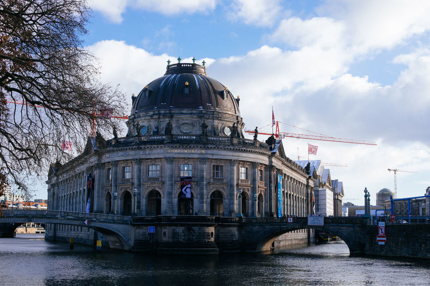 Architecture Berlin Bodemuseum Building Exterior Built Structure City Cloud - Sky Day Dome History No People Outdoors River Sky Tourism Travel Travel Destinations Tree Water