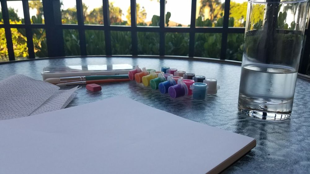 Painting on the balcony. Paint Acrylic Crayola Day Swimming Pool No People First Eyeem Photo
