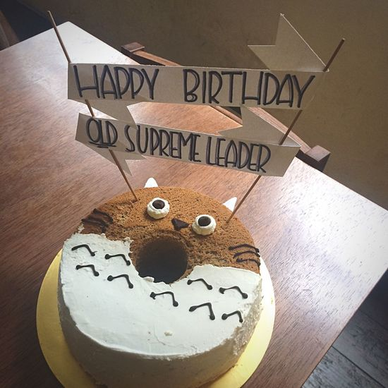 A small step HappyBirthday Totoro Customized Birthday Cake Sesame Chiffon Rustic Cartoon Animation Japan Malaysia Foodporn Cake Makan