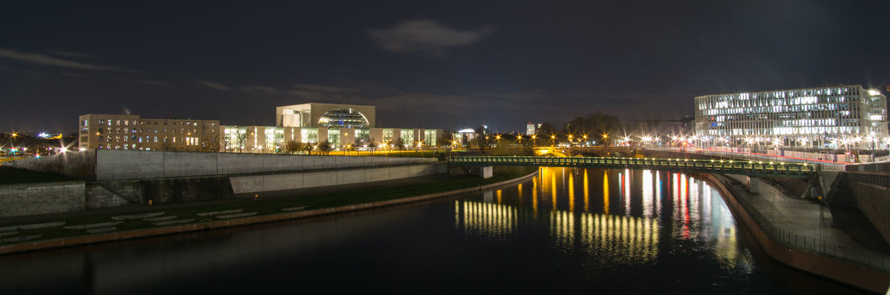 Hauptbahnhof Architecture Bridge - Man Made Structure Building Exterior Built Structure City City Life Cityscape Cloud - Sky Connection Hauptbahnhof Berlin Illuminated Modern Night No People Outdoors Reflection River Sky Skyscraper Travel Destinations Urban Skyline Water Waterfront HUAWEI Photo Award: After Dark
