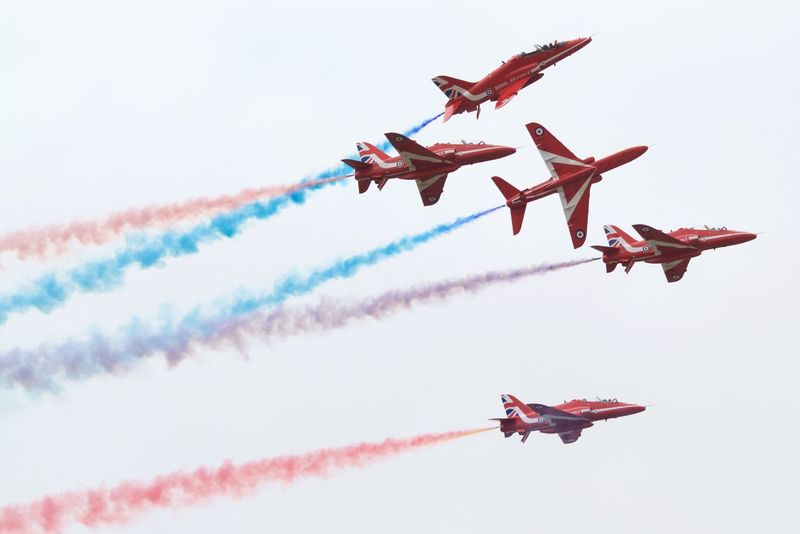 Aerobatics Air Force Air Vehicle Airplane Airshow Cloud - Sky Day Fighter Plane Flying Formation Flying Formation Flying Mid-air Military Airplane No People Outdoors Plane Red Arrows RIAT 2016 Royal Air Force Sky Smoke - Physical Structure Teamwork Vapor Trail EyeEmNewHere