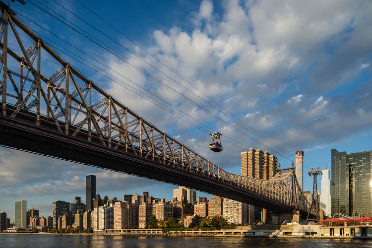 Low Angle View Of Queensboro Bridge In City Against Cloudy Sky