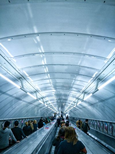 Ceiling Transportation Real People Indoors  Architecture Tunnel Large Group Of People Built Structure Day Illuminated People Men High Angle View Nikonphotographer Nikonphotography Nikon D3200 London Modern Traffic City Outdoors History Architecture Landscape Transportation