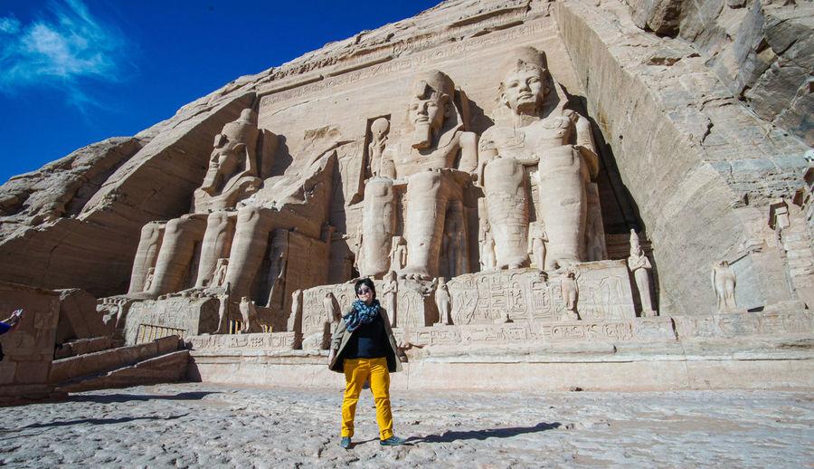 Asian tourist at abu simbel egypt landmark temple of king ramases ii beautiful architecture