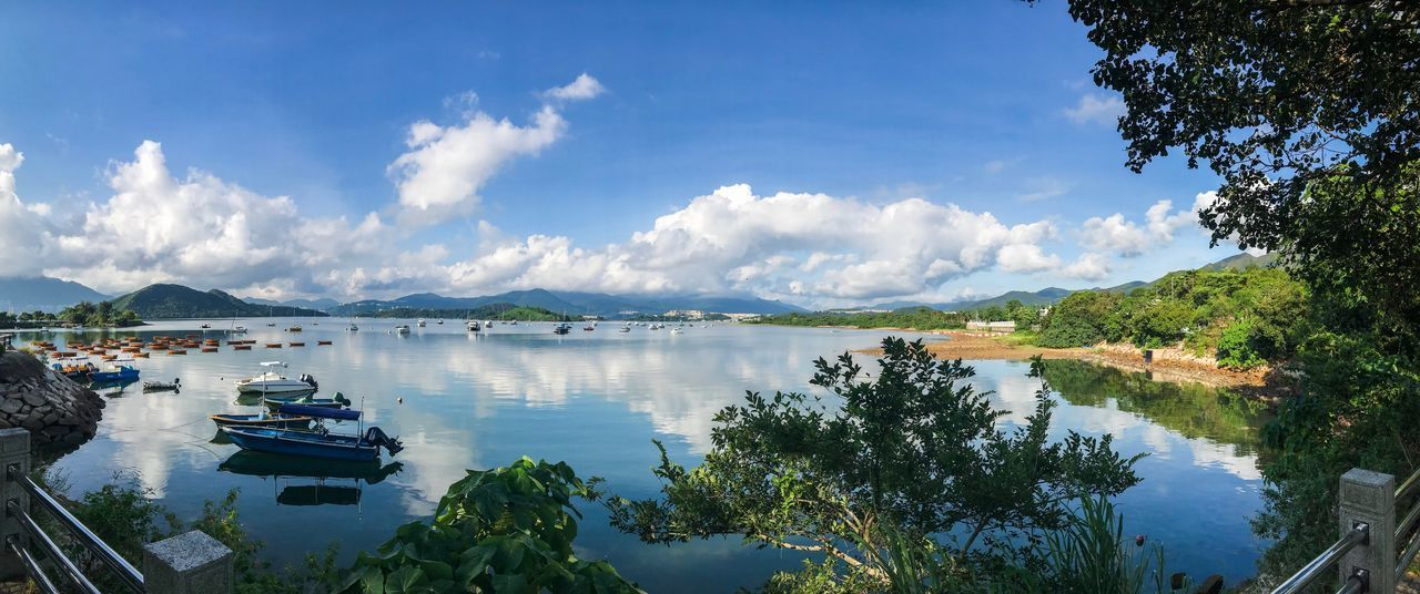Sky Water Beauty In Nature Scenics Cloud - Sky Nature Tranquil Scene Tranquility Day Outdoors Mountain Nautical Vessel No People Tree Lake Moored Blue EyeEmNewHere Panaroma Panaromic EyeEmNewHere