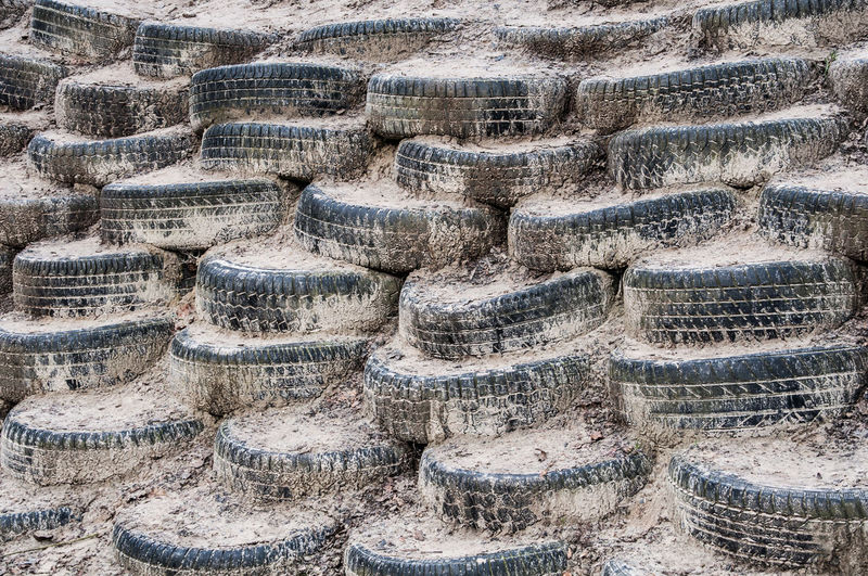 Stack of dirty tires