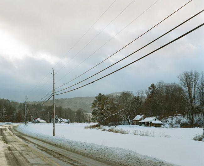Beauty In Nature Brattleboro Cloud - Sky Open Road Power Line  Scenics Season  Snow Snow Covered Tranquil Scene Vermont Winter Winter Home