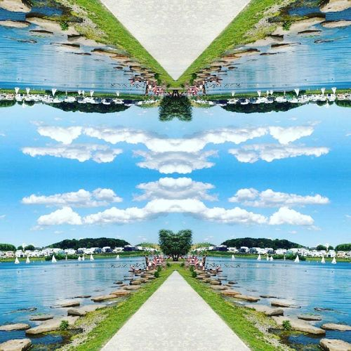 Water Cloud Sky Lake Blue Calm Tranquil Scene Tranquility Nature Diminishing Perspective Waterfront Cloud - Sky Green Mountain The Way Forward Standing Water Scenics Perspective Modern Growth Reflection Lifestyles Art Happiness Water