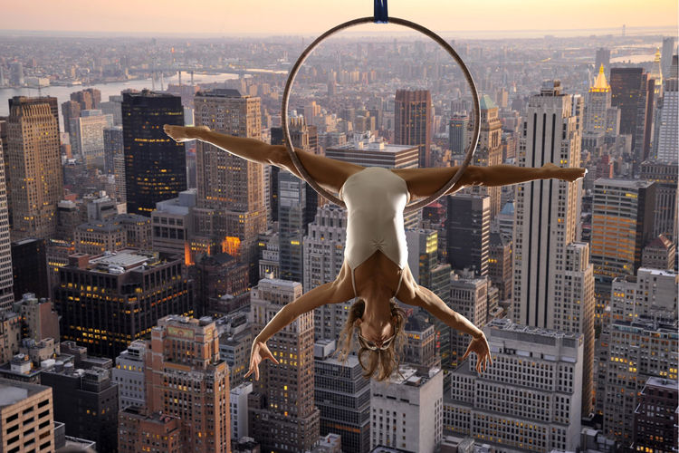 Acrobatic Acrobatics  Aerial Aerial Acrobatics Legs Manhattan Model New York New York City USA Woman Upside Down Dusk Dusk In The City Aerial Hoop Girl Modelgirl The Creative - 2018 EyeEm Awards