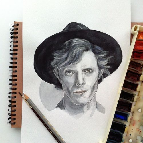 David Bowie Bowie Sketch Art ArtWork Drawing Painting Watercolor Art, Drawing, Creativity Music