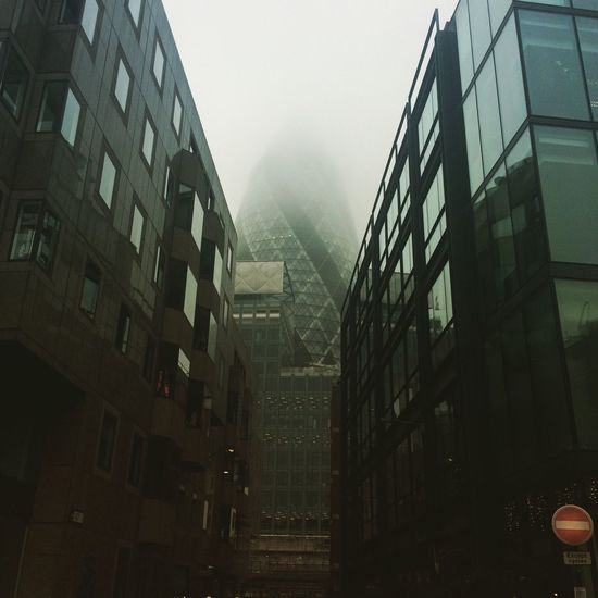 Building Exterior Architecture City Foggy Day Foggy London Gherkin Tower Gherkin Building Adapted To The City The City Light The Week On EyeEm The Week On EyeEm