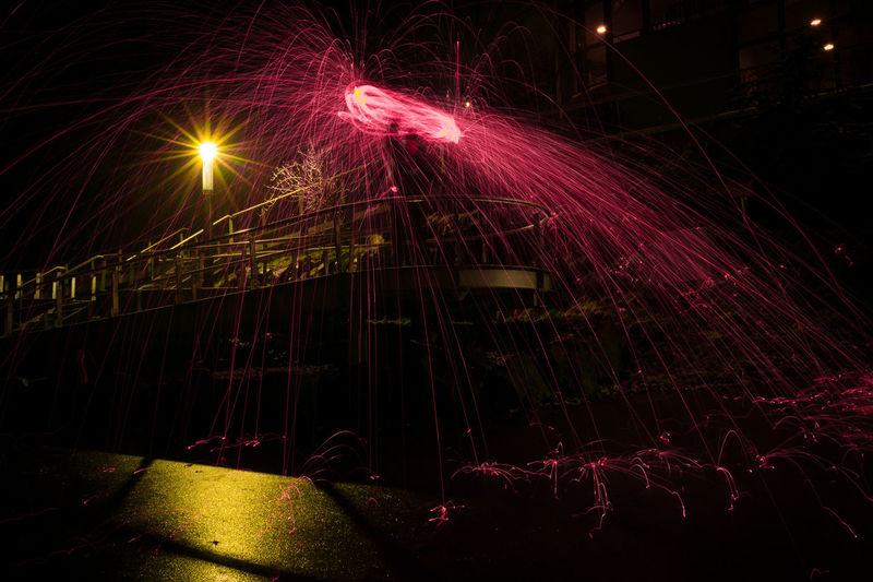 Steelwool & steel ramp.. Firework - Man Made Object Firework Display Illuminated Iluminated Long Exposure Motion Night No People Outdoors Speed Steelwool Wire Wool