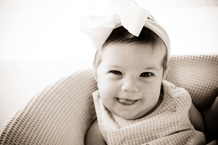 Portrait Childhood Child Emotion Headshot Innocence Real People Smiling Baby Girl Hairbow Precious Gem