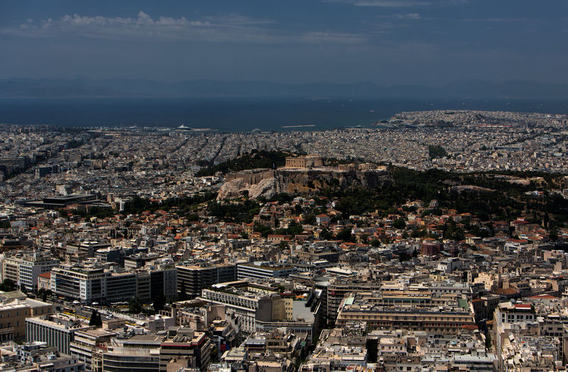 Cityscape of Athens. Acropolis Of Athens Akropolis Athens Greece Athens, Greece Greece Photos Aerial View Architecture Athens Building Building Exterior Built Structure Capital Cities  City Cityscape Cloud - Sky Community Crowd Crowded Greece High Angle View Nature Outdoors Residential District Sky Town TOWNSCAPE Travel Destinations Urban Sprawl