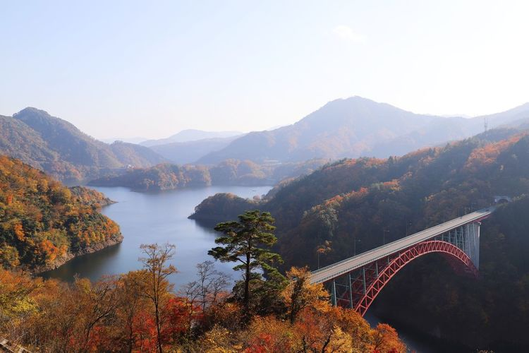 mountains and lakes and red bridge Japan Hiroshima Tree Mountain Fog Autumn Forest Bridge - Man Made Structure Dawn Beauty Sky Landscape River Bridge