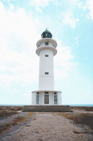 Lighthouse Guidance Direction Architecture Sky Safety Day Cloud - Sky Low Angle View Built Structure Protection Building Exterior Outdoors No People Formentera SPAIN Infinity EyeEm Selects