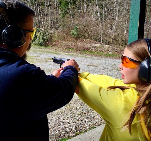 Second Acts Teaching one of my Granddaughters , how to handle a firearm. Beretta 92A1 9mm_parabellum_bullet