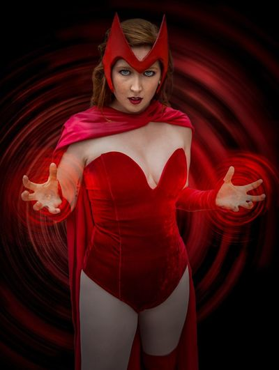 Scarlet Witch Cosplayer Cosplay Nycc2018 NYCC Red Portrait Looking At Camera Costume Three Quarter Length Indoors  One Person Young Women Women Front View Evil Illuminated Demon - Fictional Character Beautiful Woman Hairstyle