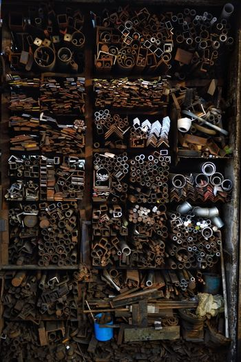 Mess with order Variation Abundance No People Large Group Of Objects Day Outdoors Hong Kong HongKong Blacksmith  Metal Metalsmith Ironsmith Pipes Railing Rusty Metal Rusty Things Brown Silver