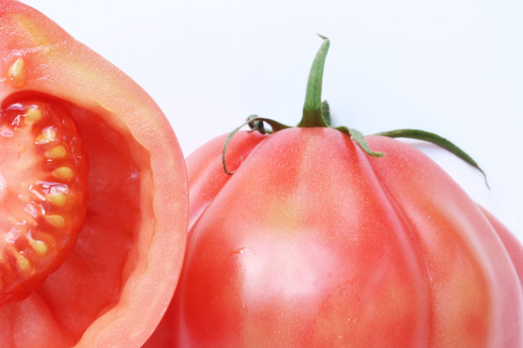 Close-up of red fruit against white background