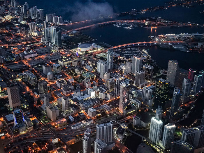 Miami view City Cityscape Downtown District Flying High Night Travel Destinations