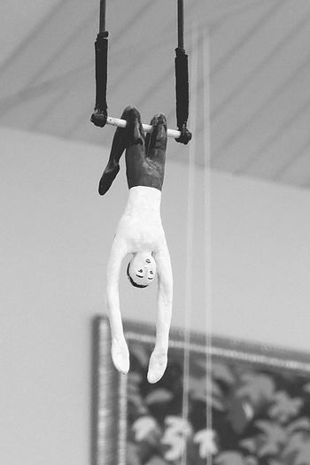 Denmark 🇩🇰🇩🇰🇩🇰 Trapeze Artist Doll Photography Hanging From The Ceiling Full Length Sport Focus On Foreground Adventure Extreme Sports Toddler  ArtWork Architectural Feature Your Are My Heart History Old Family Tradition In This Place Memories Day Indoors  Black & White