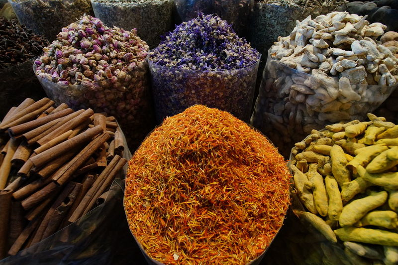Close-up of various spices for sale in market